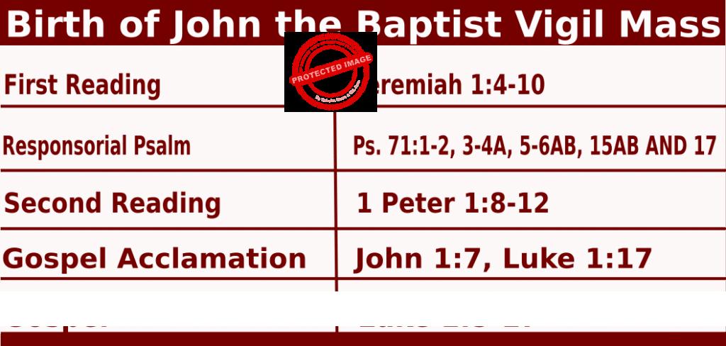 Catholic Daily Mass Readings for Birth of John the Baptist Vigil Mass - June 24 2022