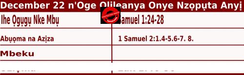 Igbo Mass Readings December 22 2021, Wednezde Izuuka nke Ano n'oge Olileanya Onyenzoputa Anyi