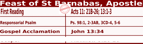 Catholic Daily Mass Readings for June 11 2022, Feast of St Barnabas, Apostle