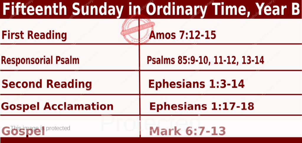 Catholic Sunday Mass Readings for July 11 2021, Fifteenth Sunday in Ordinary Time, Year B
