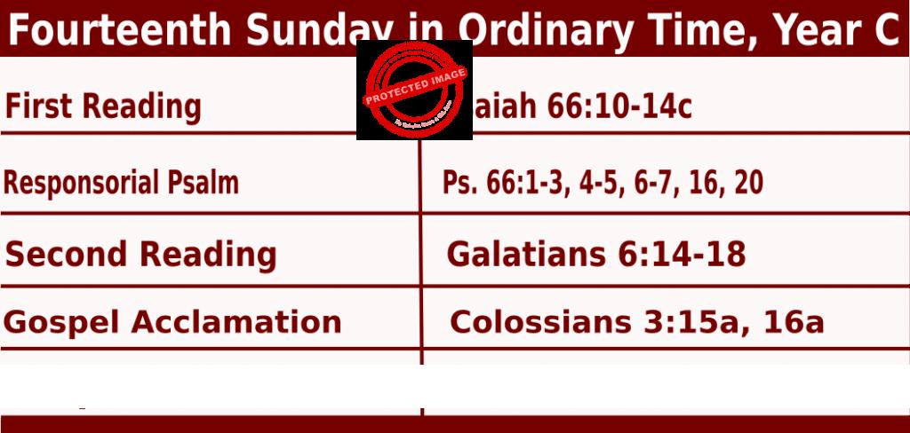 Catholic Sunday Mass Readings for July 3 2022, Fourteenth Sunday Ordinary Time, Year C
