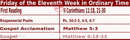 Catholic Daily Mass Readings for June 18 2021, Friday of the Eleventh Week in Ordinary Time
