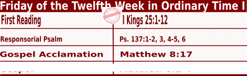 Catholic Daily Mass Readings for June 26 2020, Friday of the Twelfth Week in Ordinary Time