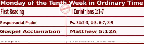 Catholic Daily Mass Readings for June 7 2021, Monday of the Tenth Week in Ordinary Time