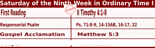 Catholic Daily Mass Readings for June 6 2020, Saturday of the Ninth Week in Ordinary Time