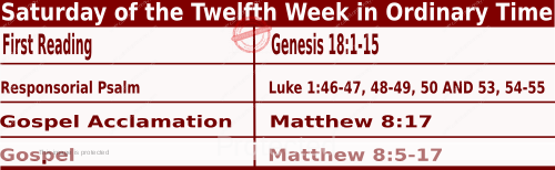 Bible quotations in Mass Readings for June 26 2021, Saturday of the Twelfth Week in Ordinary Time