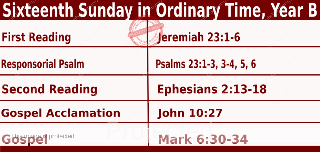 Sunday Mass Readings for July 18 2021, Sixteenth Sunday in Ordinary Time, Year B