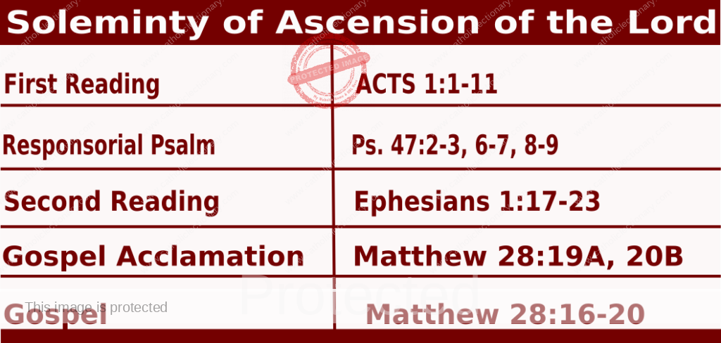 Catholic Daily Mass Readings for Ascension 2021, Solemnity of the Ascension 2021- May 13 2021.