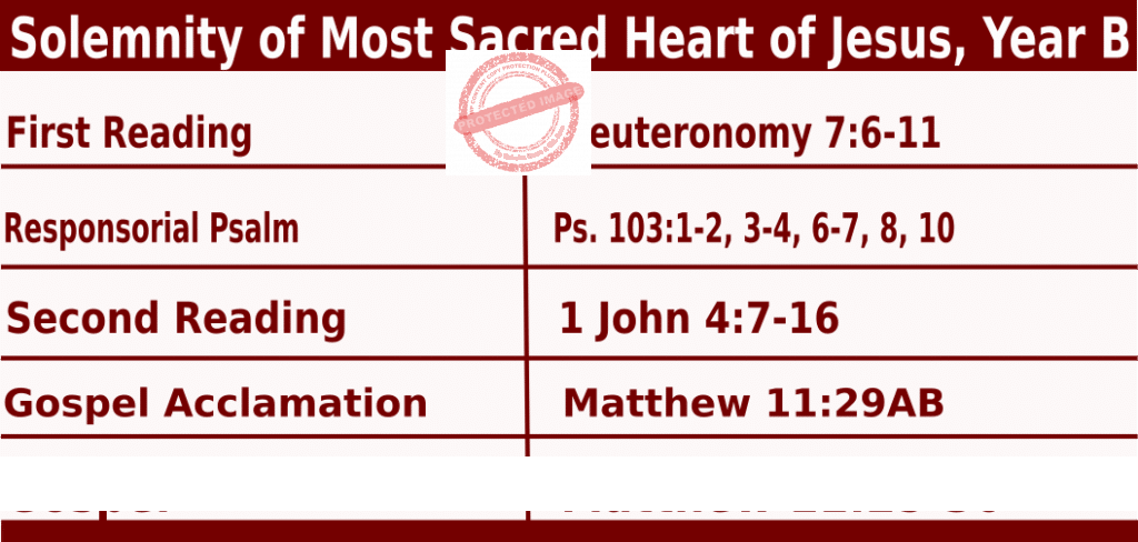 Catholic Daily Mass Readings for June 11 2021, Friday, Solemnity of Most Sacred Heart of Jesus, Year B