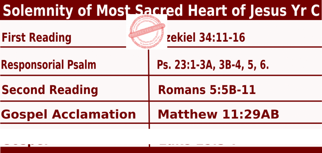 Catholic Daily Mass Readings for June 24 222, Solemnity of Most Sacred Heart of Jesus, Yr C