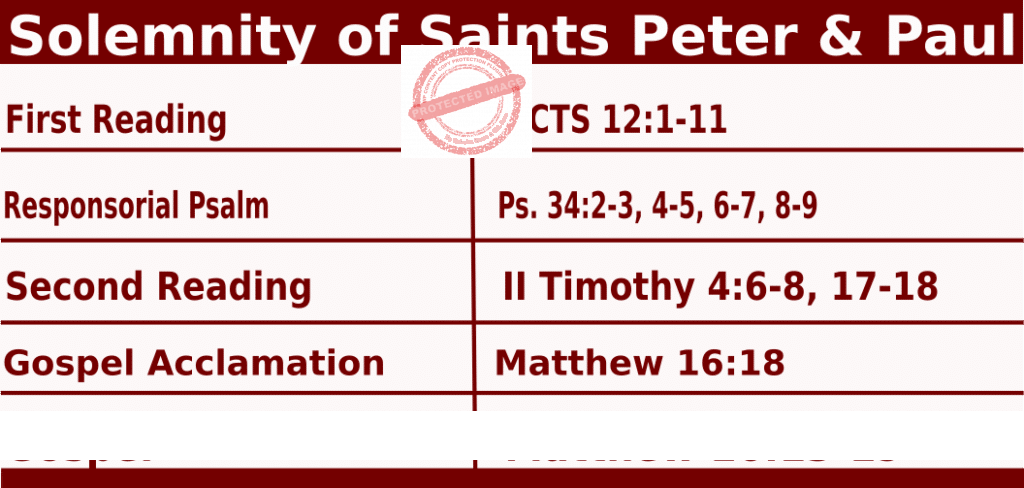 Catholic Daily Mass Readings for June 29 2022, Solemnity of Saints Peter & Paul