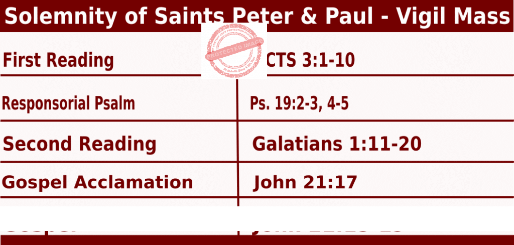 Catholic Daily Mass Readings for Solemnity of Saints Peter and Paul - vigil Mass - June 28 2022