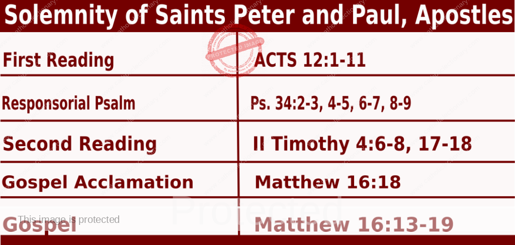 Catholic Daily Mass Readings for June 29 2021, Solemnity of Saints Peter and Paul, Apostles