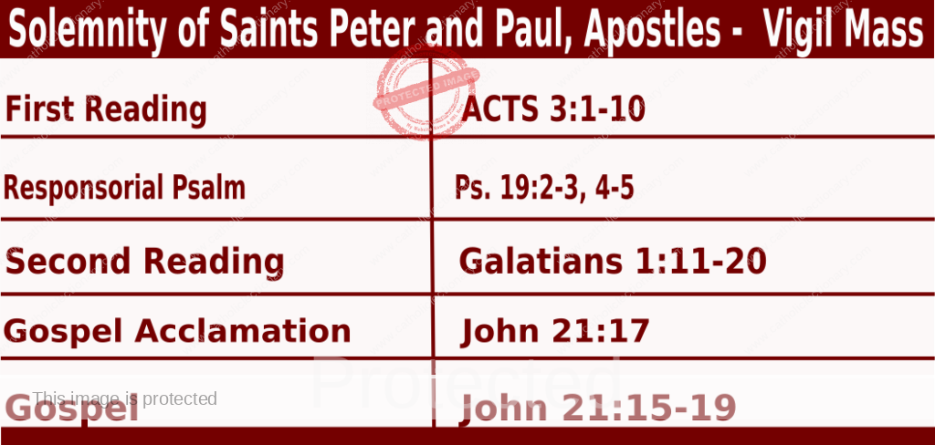 Catholic Daily Mass Readings for June 28 2021, Solemnity of Saints Peter and Paul, Apostles, Year B - Vigil Mass