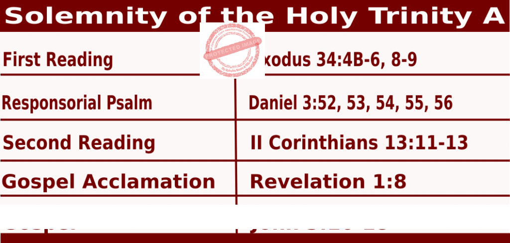 Catholic Daily Mass Readings for June 7 2020, Solemnity of the Holy Trinity Year A