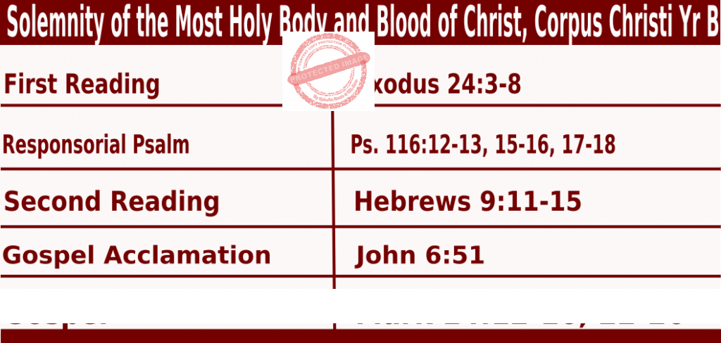 Catholic Sunday Mass Readings for June 6 2021, Solemnity of the Most Holy Body and Blood of Christ – Corpus Christi Year B