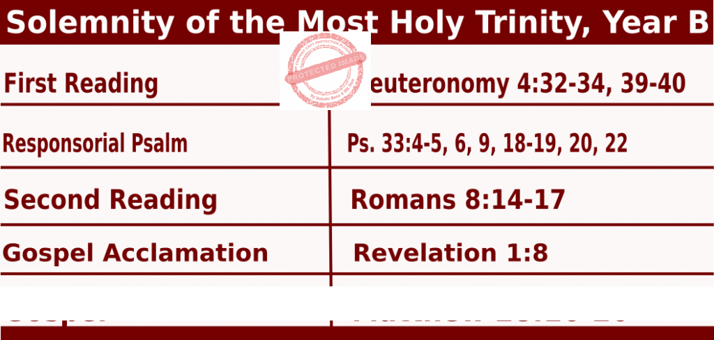 Catholic Sunday Mass Readings for May 30 2021, The Solemnity of the Most Holy Trinity, Year B