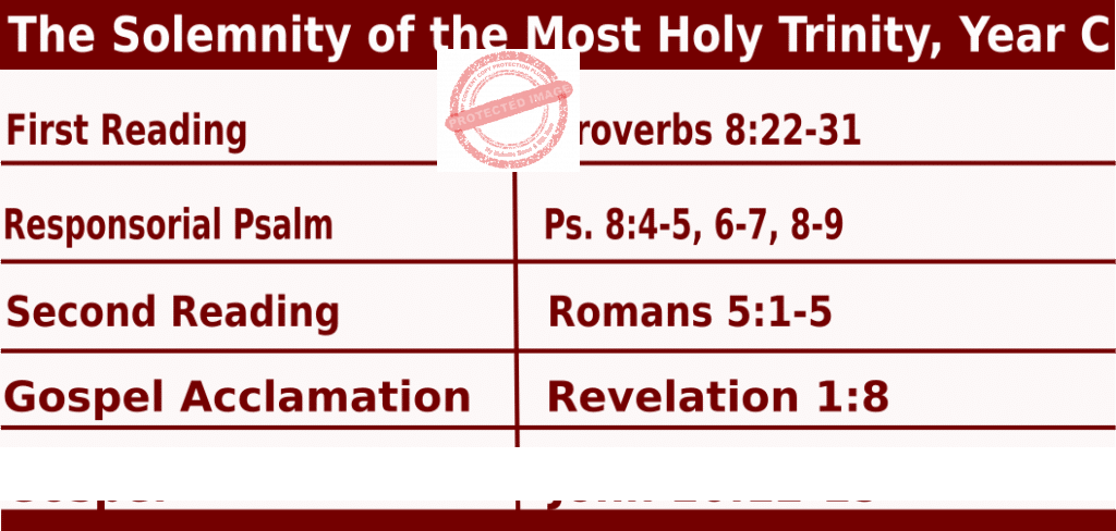 Catholic Sunday Mass Readings for June 12 2022: The Solemnity of the Most Holy Trinity, Year C
