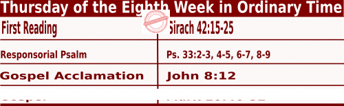 Catholic Daily Mass Readings for May 27 2021, Thursday of the Eighth Week in Ordinary Time