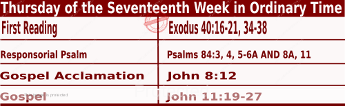 Catholic Daily Mass Readings for July 29 2021, Thursday of the Seventeenth Week in Ordinary Time