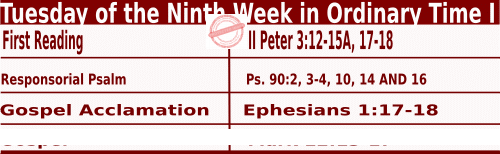 Catholic Daily Mass Readings for June 2 2020,  Tuesday of the Ninth Week in Ordinary Time