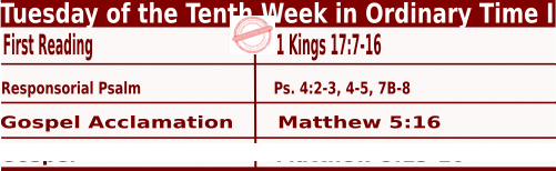 Catholic Daily Mass Readings for June 7 2022, Tuesday of the Tenth Week in Ordinary Time