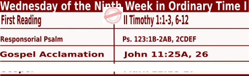 Catholic Daily Mass Readings for June 3 2020, Wednesday of the Ninth Week in Ordinary Time