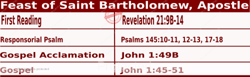 Bible quotations in Mass Readings for August 24 2021, Feast of Saint Bartholomew, Apostle