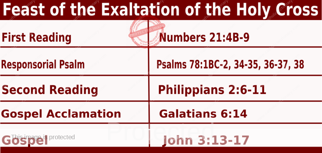 Bible quotations in Mass Readings for September 14 2021, Feast of the Exaltation of the Holy Cross - Catholic Readings for today September 14 2021