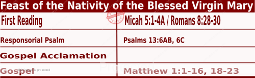 Bible quotations in Mass Readings for September 8 2021, Feast of the Nativity of the Blessed Virgin Mary