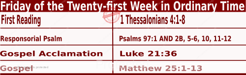 Bible quotations in  Mass Readings for August 27 2021, Friday of the Twenty-first Week in Ordinary Time