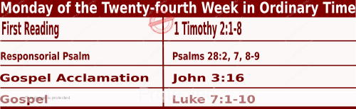 Bible quotations in Mass Readings for September 13 2021, Monday of the Twenty-fourth Week in Ordinary Time - Catholic Readings for today September 13 2021