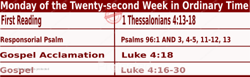 Bible quotations for Mass Readings for August 30 2021, Monday of the Twenty-second Week in Ordinary Time