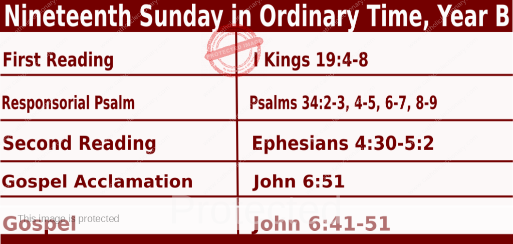 Catholic Sunday Mass Readings for August 8 2021, Nineteenth Sunday in Ordinary Time, Year B