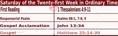 Bible quotations in Mass Readings for August 28 2021, Saturday of the Twenty-first Week in Ordinary Time - Memorial of Saint Augustine, Bishop and Doctor of the Church