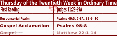 Bible quotations in Mass Readings for August 19 2021, Thursday of the Twentieth Week in Ordinary Time