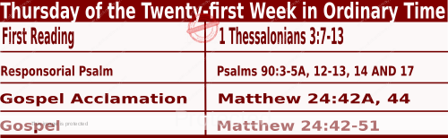 Bible quotations in Mass Readings for August 26 2021, Thursday of the Twenty-first Week in Ordinary Time