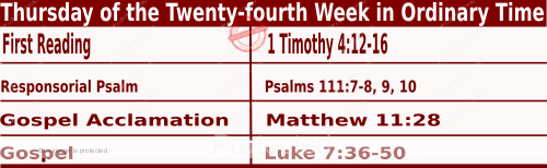 Bible quotations in Mass Readings for September 16 2021, Thursday of the Twenty-fourth Week in Ordinary Time - Catholic Readings for today September 16 2021