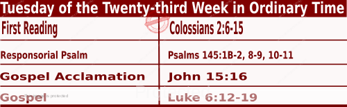 Bible quotations in Mass Readings for September 7 2021, Tuesday of the Twenty-third Week in Ordinary Time - Catholic Readings for today September 7 2021