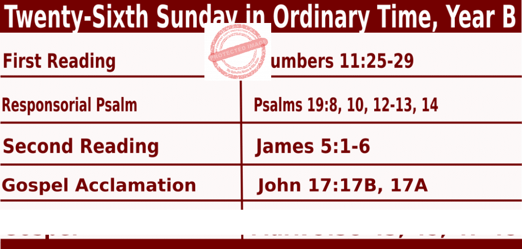 Bible quotations in Sunday Mass Readings for September 26 2021, Twenty-Sixth Sunday in Ordinary Time, Year