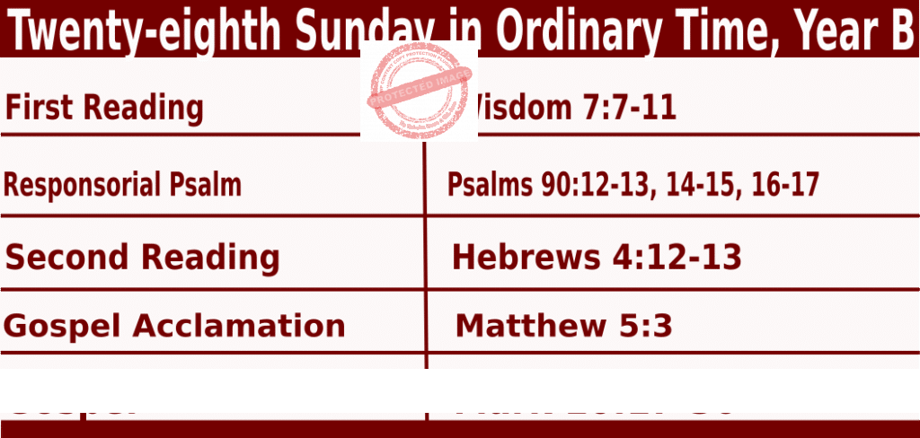 Bible quotations in Sunday Mass Readings for October 10 2021, Twenty-eighth Sunday in Ordinary Time, Year B