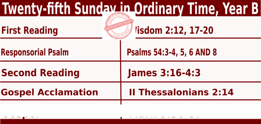 Bible Quotations in Sunday Mass Readings for September 19 2021, Twenty-fifth Sunday in Ordinary Time, Year B
