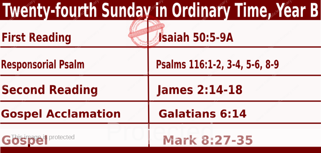 Bible quotations in Sunday Mass Readings for September 12 2021, Twenty-fourth Sunday in Ordinary Time, Year B - Catholic Readings for today September 12 2021