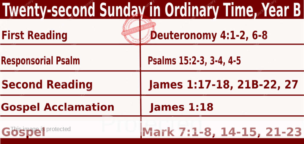Bible quotations for Sunday Mass Readings for August 29 2021, Twenty-second Sunday in Ordinary Time, Year B