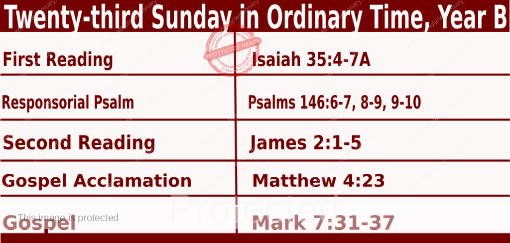 Bible quotations in Sunday Mass Readings for September 5 2021, Twenty-third Sunday in Ordinary Time, Year B