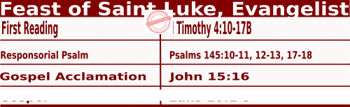 Bible quotations in Mass Readings for October 18 2021, Feast of St Luke, Evangelist - Catholic Readings for October 18 2021