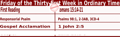 Bible quotations in Mass Readings for November 5 2021, Friday of the Thirty-first Week in Ordinary Time - Catholic Readings for November 5 2021