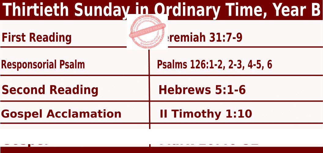 Bible quotations in Mass Readings for October 24 2021, Thirtieth Sunday in Ordinary Time, Year B - Catholic Readings for October 24 2021