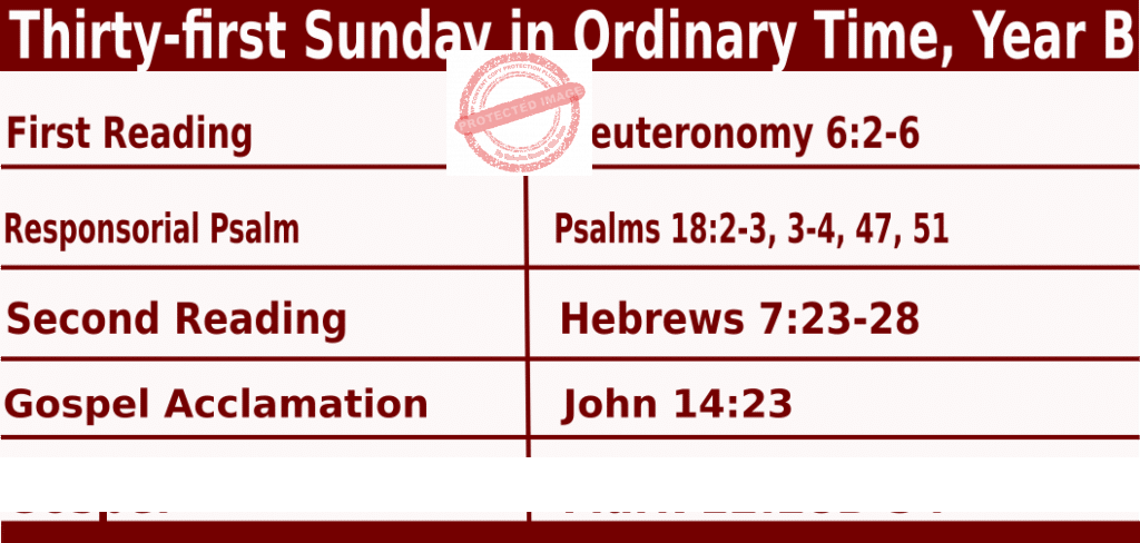 Bible quotations in Sunday Mass Readings for October 31 2021, Thirty-first Sunday in Ordinary Time, Year B - Catholic Readings for October 31 2021
