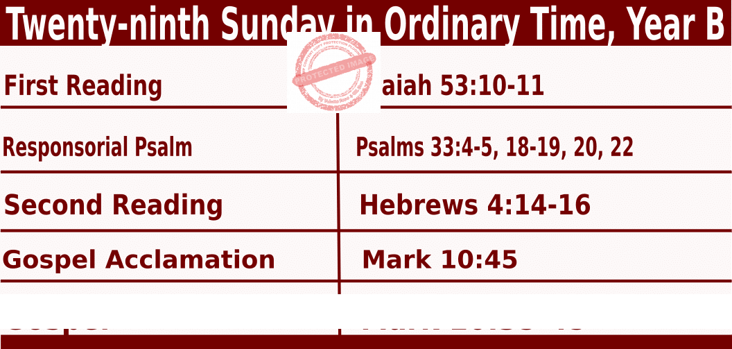 Bible quotations in Sunday Mass Readings for October 17 2021, Twenty-ninth Sunday in Ordinary Time, Year B - Catholic Readings for October 17 2021